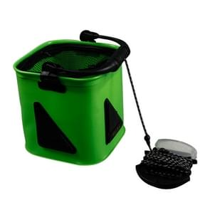 Multi-function Thickening Live Fish Bucket Foldable Waterproof Fishing Storage Bucket with Rope  Size: 22*22 cm  Random Color Delivery
