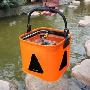 Multi-function Thickening Live Fish Bucket Foldable Waterproof Fishing Storage Bucket with Rope  Size: 18*18 cm  Random Color Delivery