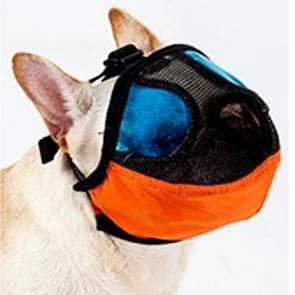 Verstelbare korte mond platte neus huisdier hond mond Cover muilkorf anti-bijtende blaffende comfortabele Camouflage  S  nek grootte: 24-35cm(Orange)