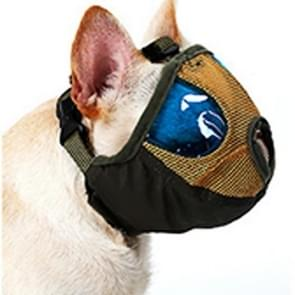 Verstelbare korte mond platte neus huisdier hond mond Cover muilkorf anti-bijtende blaffen comfortabele Camouflage  S  nek grootte: 24-35 cm (leger-groen)