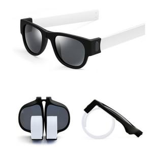 New Fashion Crimp Folding Mirror Pops Polarized Sunglasses Casual UV400 Protection Glasses for Men / Women(White)