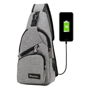 Dxyizu multifunctionele draagbare Casual Canvas borst zak buiten Sporttas schoudertas taille met externe USB lading Interface voor mannen / vrouwen / Student(Grey)