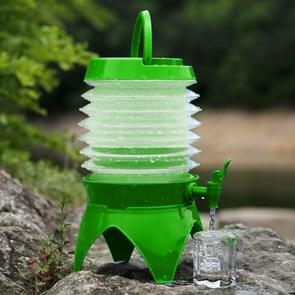 Multi-functional Outdoor Camping Telescopic Folding Retractable Beer Water Storage Bucket Drinking Water Outdoor Tools  Capacity: 5L(Green)