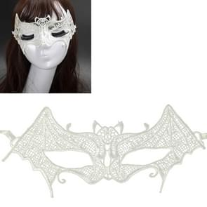 Halloween Masquerade Party Dance Sexy Lady Lace Bat Mask(White)