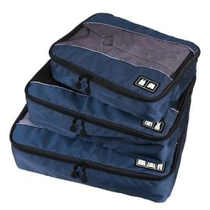 3 stuks / Sets multifunctionele voetbal textuur 210 D Polyester Waterdichte kleding ondergoed opslag reistas (donkerblauw)