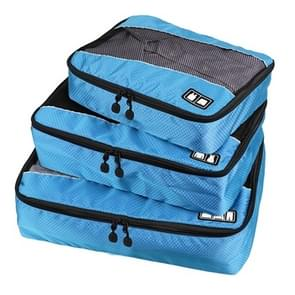 3 PCS / Sets Multi-function Football Texture 210D Polyester Waterproof Travel Clothes Underwear Storage Bag (Blue)