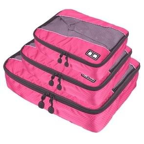 3 PCS / Sets Multi-function Football Texture 210D Polyester Waterproof Travel Clothes Underwear Storage Bag (Magenta)