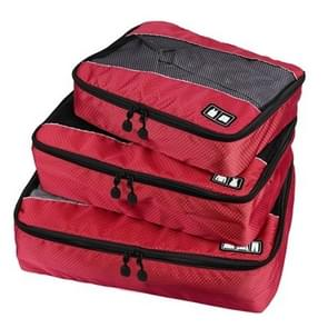 3 PCS / Sets Multi-function Football Texture 210D Polyester Waterproof Travel Clothes Underwear Storage Bag (Red)