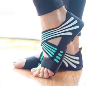 1 Pair Anti-Slip Yoga Socks Toeless Pilates Socks Ballet Yoga Pilates Barre Shoes for Women  245-250mm (Green)
