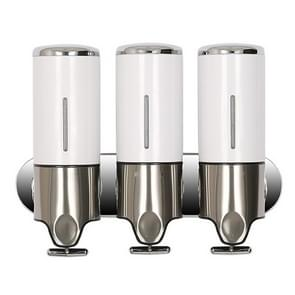 Triple Hotel douche handmatige dispenser muur gemonteerd wassen vloeibare shampoo zeep fles  capaciteit: 1200ml (wit)