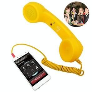 3.5 mm plug Mic retro telefoon anti-straling mobiele telefoon handset ontvanger (geel)