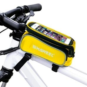HAWEEL Bicycle Double Frame Touch Screen Phone Bag for iPhone 7 Plus / iPhone 7 / iPhone 6 & 6 Plus / iPhone 6s & 6s Plus(Yellow)