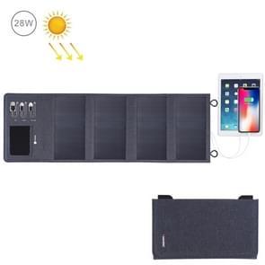 HAWEEL 28W opvouwbare zonnepaneel lader 8000mAh Power Bank met 5V 3.5 A Max Dual USB-poorten (zwart)