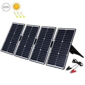 HAWEEL 4 stuks 20W monokristallijne silicium zonne-energie paneel lader  met USB-poort & houder & Tiger clip  ondersteuning QC 3.0 en AFC (zwart)