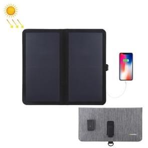 HAWEEL 14W ultradunne 2-voudige opvouwbare zonnepaneel lader met 5V/2.2 A USB-poort  ondersteuning QC 3.0 en AFC (zwart)