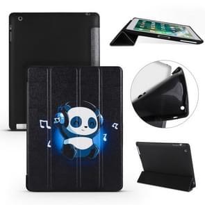 Muziek Panda patroon horizontale Flip PU lederen case voor iPad 4/3/2  met drie-vouwen houder & honingraat TPU cover
