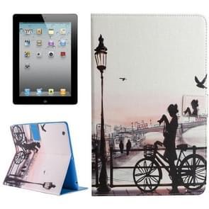 Voor iPad 4 / 3 / 2 meisje in Park patroon universele horizontale Flip lederen draagtas met houder & Card Slots & portemonnee