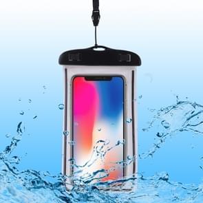 PVC transparante universele lichtgevende waterdichte tas met Lanyard voor slimme telefoons onder 6 0 inch (zwart)