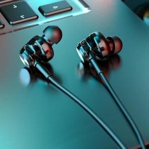 Originele Lenovo QF310 3 5 mm Plug In-ear Wire Control Stereo Earphone met HD-microfoon (zwart)