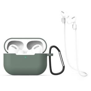 Voor AirPods Pro 3 in 1 Siliconen oortelefoon beschermhoes + Haak + Anti-lost Rope Set (Groen)