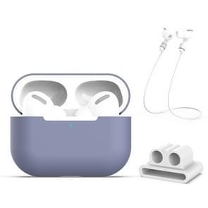 Voor AirPods Pro 3 in 1 Siliconen oortelefoon beschermhoes + oortelefoons Gesp + Anti-lost Rope Set (Grijs)