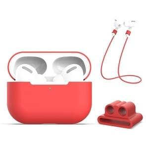 Voor AirPods Pro 3 in 1 Siliconen oortelefoon beschermhoes + oortelefoons Gesp + Anti-lost Rope Set (Rood)