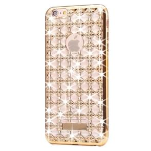 Voor iPhone 6 & 6s Agate & Diamond Encrusted galvaniseren TPU beschermende back cover Case(Gold)