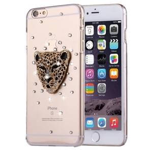 Fevelove voor iPhone 6 & 6s Diamond Encrusted Leopard hoofd patroon PC beschermende Case Back Cover
