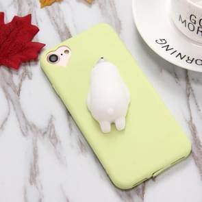 Voor iPhone 6 & 6s groen achtergrond Lovely Bear patroon Squeeze Relief Squishy Dropproof back cover beschermhoes