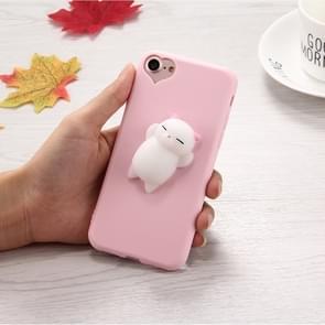 Voor iPhone 6 & 6s 3D kleine kat roze oren patroon Squeeze Relief Squishy Dropproof back cover beschermhoes