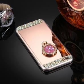 Voor iPhone 6 & 6s Diamond Encrusted galvaniseren spiegel Cover beschermhoes met verborgen Ring Holder(Rose Gold)