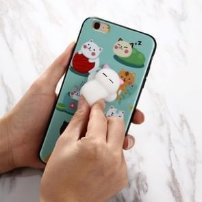 Voor iPhone 6 & 6s 3D groene achtergrond mooie kat Cartoon patroon Squeeze Relief IMD vakmanschap Squishy Dropproof back cover beschermhoes