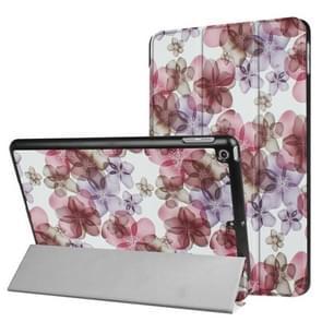iPad 9.7 inch 2017 Bloemen patroon en kruis structuur PU leren Flip Hoesje met drievouws houder