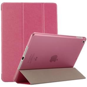 iPad 9.7 inch (2017) & iPad Air horizontaal Zijde structuur PU leren Flip Hoesje met drievouws houder (hard roze)