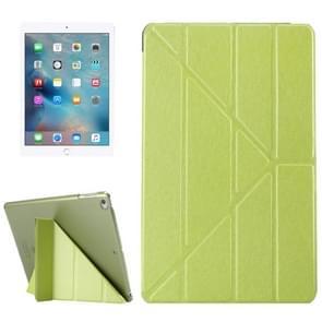 iPad 9.7 inch (2017) & iPad Air horizontaal Zijde structuur PU leren Flipstand Hoesje met drievouws houder (groen)