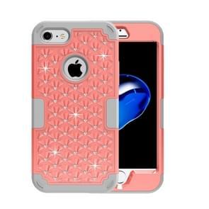 iPhone 7 & 8 met nep diamanten ingelegd omhullend Siliconen + Kunststof Hoesje (Oranje + grijs)