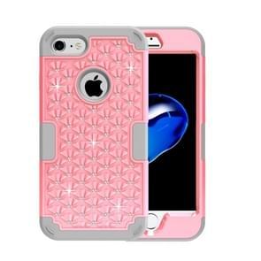 iPhone 7 & 8 met nep diamanten ingelegd omhullend Siliconen + Kunststof Hoesje (grijs + roze)