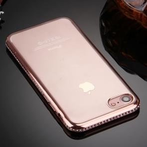 iPhone 7 & 8 TPU back cover Hoesje met nep diamanten ingelegd gegalvaniseerd bumper frame (roze goudkleurig)