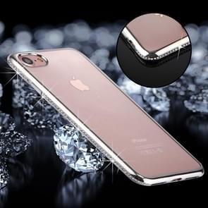 iPhone 7 & 8 TPU back cover Hoesje met nep diamanten ingelegd gegalvaniseerd bumper frame (zilverkleurig)