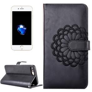 iPhone 8 Plus & 7 Plus horizontaal 3D Geborduurd bloemen structuur PU leren Flip Hoesje met foto frame  houder en opbergruimte voor pinpassen & geld (zwart)