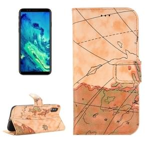 iPhone X horizontaal Licht bruin landkaart patroon PU leren Flip Hoesje met houder en opbergruimte voor pinpassen & geld