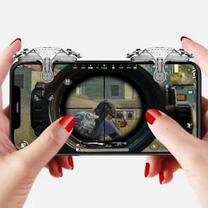 Mini Eten Kip Mobiele Telefoon Trigger Shooting Controller Handle Hulpknop (Transparant)