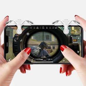 Mini Eten Kip Mobiele Telefoon Trigger Shooting Controller Handle Hulpknop (Wit)