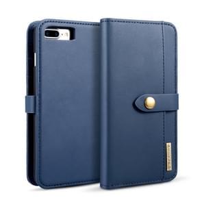 Dg. MING Lambskin afneembare horizontale Flip magnetische geval voor iPhone 8 plus & 7 Plus  met houder & kaartsleuven & portemonnee (blauw)