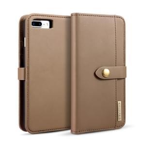 Dg. MING Lambskin afneembare horizontale Flip magnetische geval voor iPhone 8 plus & 7 Plus  met houder & kaartsleuven & portemonnee (bruin)