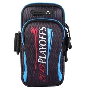 Multifunctionele universele dubbele laag rits brief sport arm Case telefoon tas met oortelefoon gat voor 6 6 inch of onder smartphones (blauw)