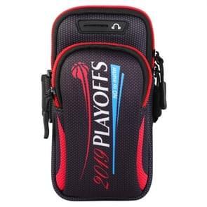 Multifunctionele universele dubbele laag rits brief sport arm Case telefoon tas met oortelefoon gat voor 6 6 inch of onder smartphones (rood)