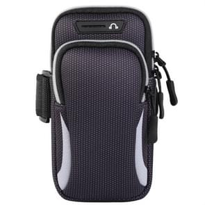 Multifunctionele universele dubbellaagse rits sport arm Case telefoon tas met oortelefoon gat voor 6 6 inch of lager smartphones (grijs)