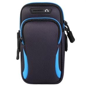 Multifunctionele universele dubbellaagse rits sport arm Case telefoon tas met oortelefoon gat voor 6 6 inch of onder smartphones (blauw)