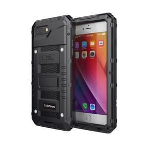 Waterdichte stof schokbestendige zink legering + siliconen case voor iPhone 8 plus & 7 Plus (zwart)